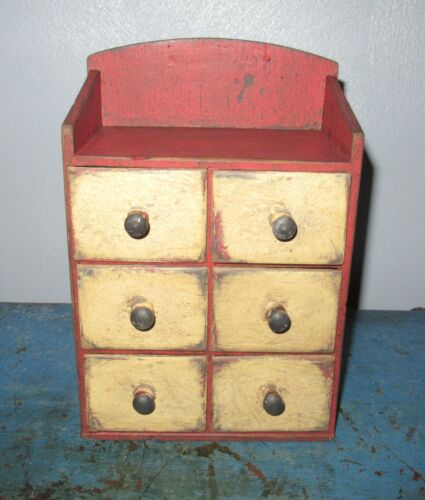 Tiny Vintage 6 Drawer Spice/Notions Cabinet/Box/Cupboard/Chest-Red Paint-Prim