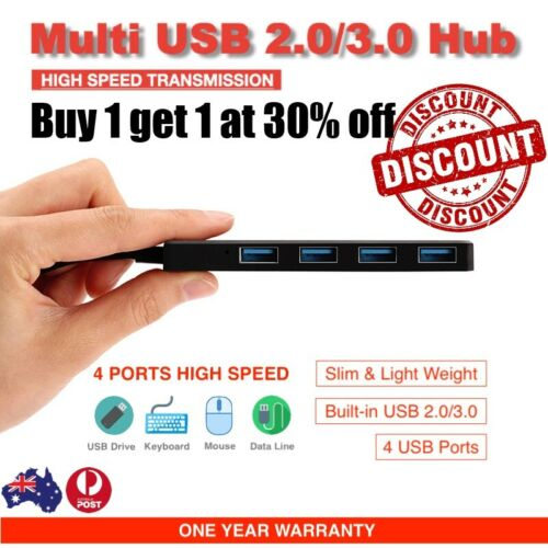 USB 2.0 3.0 Hub 4 Port Type C to USB Adapter High Speed Slim Compact Expansion