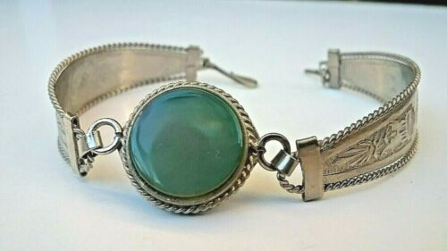 "VINTAGE COLLECTIBLE PERUVIAN JADE 8"" - 22 cm DOUBLE PANELED SILVER BRACELET"