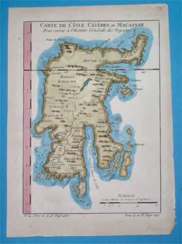 1752 RARE ORIGINAL MAP OF ASIA CELEBES INDONESIA MACASSAR SULAWESI EAST INDIA