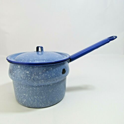 """Vintage Enamelware 6.5"""" Lidded Bowl Rustic Saucepan Kitchen Country Blue Covered"""