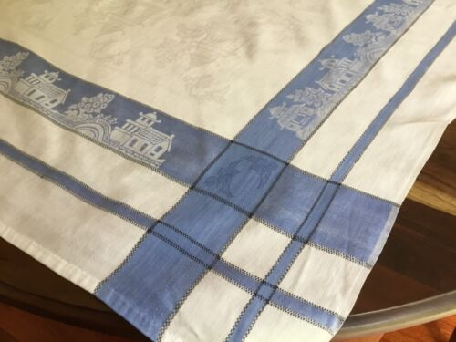 vintage Linen Damask Ornate Willow Pattern Tablecloth