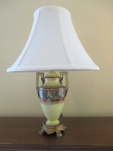Antique Grecian Urn Style, Tole Flowers Pale Yellow Ceramic Lamp- Works Great!