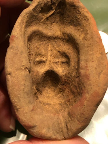 """PRE COLUMBIAN MAYAN CLAY MOLD OF BABY OR BAT OVER 1,000-2.000 YRS.OLD   2.75"""""""