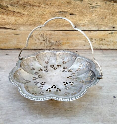 Antique Floral Jali Cutting Silver Made Ritual Temple Flower Basket