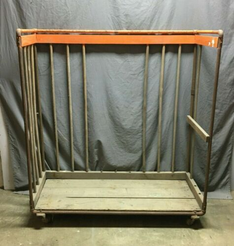 1 Antique Industrial Metal Frame Wooden Shoe Rack Old Shop Garage VTG 1295-20B
