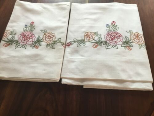 Vintage Embroidered Pair Pillowcases Unused