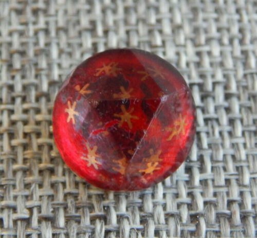 "Antique Vtg Glass Button Kaleidoscope Red w/ Stars~Apx:5/8""~#-1423-D"