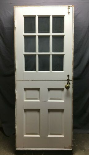 VTG Solid Wood Dutch Door 9 Lite 32x80 Shabby Entryway Old Chic White 1342-20B