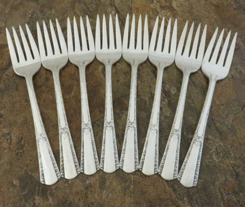 IS Royal Pageant Set 8 Salad Forks Wm Rogers Vintage Silverplate Flatware C