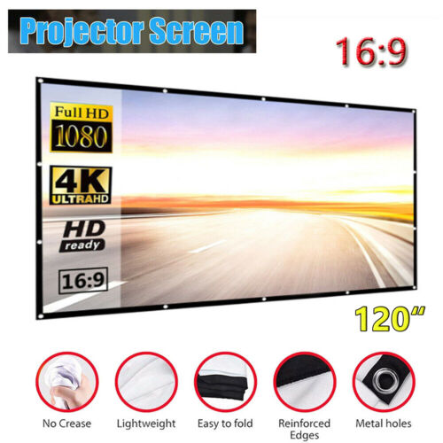 """120""""  Foldable Projector Screen Portable Outdoor Home Movie Cinema 16:9 HD 3D"""
