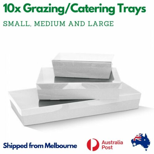 10pk White Catering/Grazing Boxes With Clear PET Lid