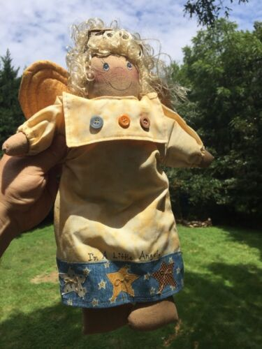 """Antique Primitive I'M A LITTLE ANGEL Barn Star ANGEL GIRL DOLL Amish Buttons 15"""""""