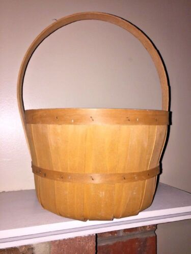 ANTIQUE PRIMITIVE DIVIDER DECORATIVE Apple Crate Utensil Wooden Barrel BASKET