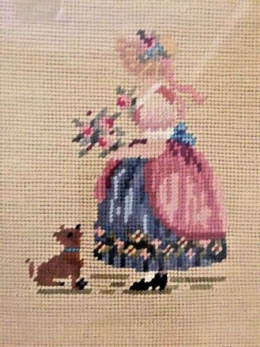 ANTIQUE 19TH CENTURY TAPESTRY NEEDLEPOINT IN PERIOD FRAME Victorian Girl & Puppy