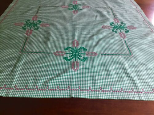 Vintage pretty embroidered green gingham  cross stitch