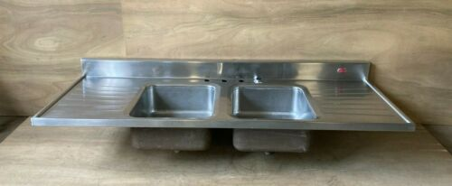 """Vtg 66"""" Stainless Steel Double Basin Drainboard 1940s Tracy Kitchen Sink 19-21E"""