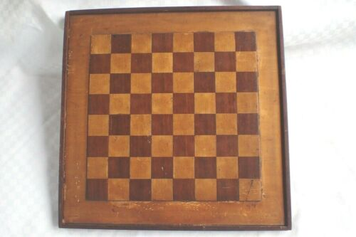 ANTIQUE WOOD WOODEN INLAID GAMEBOARD GAME BOARD CHECKERBOARD CHECKER CHESS BOARD