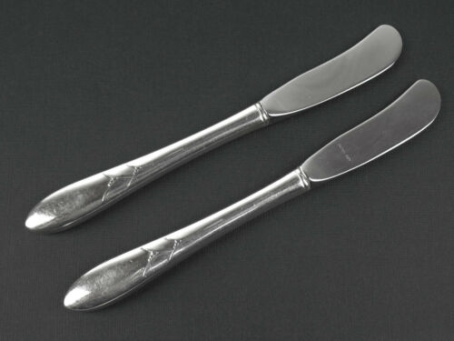 Set 2 x Hollow Handle Butter Knives Oneida Community Lady Hamilton Curved blades
