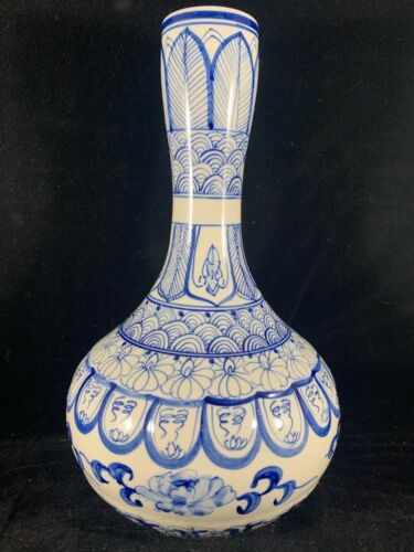 Chinese Antique Blue and White Porcelain Vase With Flowers