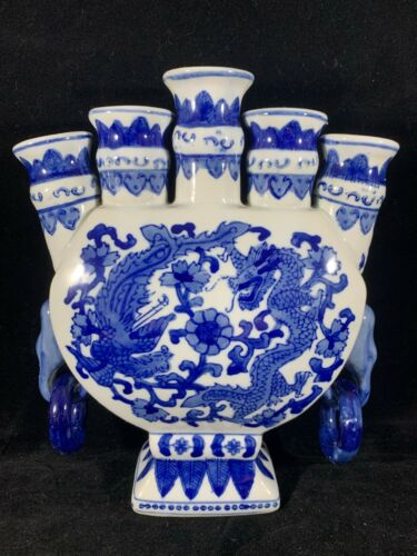 Chinese Antique Vintage Blue and White Porcelain Vase