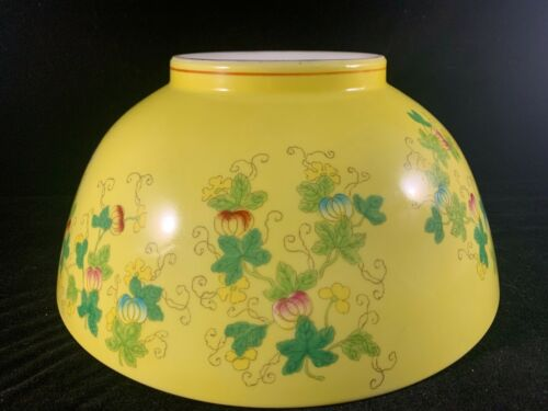 Large Chinese Antique Famille Rose Yellow Porcelain Bowl With Butterflies