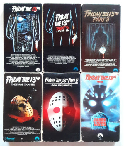 VINTAGE RARE (1980 - 1986) FRIDAY THE 13TH SET OF 6 HORROR VHS VIDEO TAPES LOT