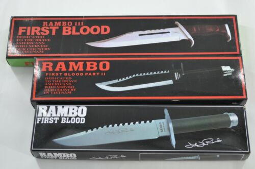 ONE SET  Rambo  FIRST BLOOD PART ONE TWO THREE Military Survival Fighting Knife