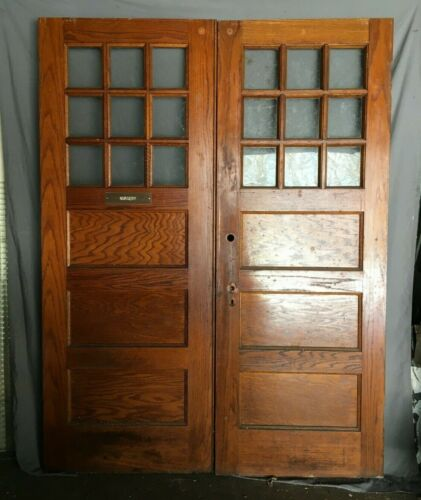 Pair Of Antique 1925 Oak 3 Panel Interior School Doors Clear Glass VTG 210-21B