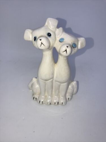 VINTAGE WHITE LUSTRE DOGS CERAMIC FIGURINES FROM JAPAN
