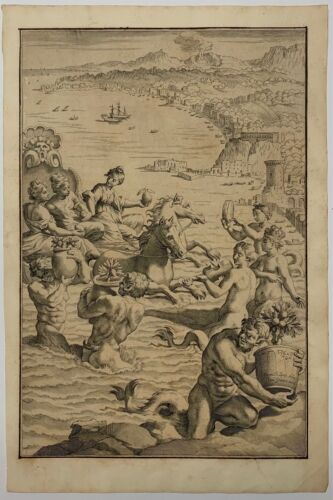 Antique 1646 'ARRIVAL OF HESPEREDIS AT NAPLES' Italy ENGRAVING from CITRUS Book