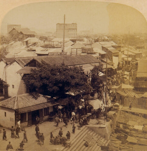 Underwood Stereoview the View Overlooking Canton, China 1900 Near Mint Condition