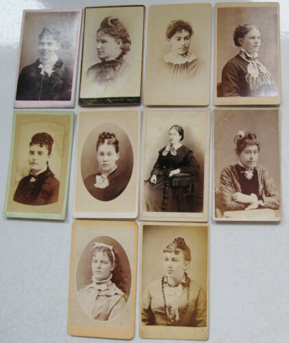 NICE LOT OF 10 ANTIQUE CDV PHOTOS ALL LOVELY WOMEN FROM VARIOUS LOCATIONS