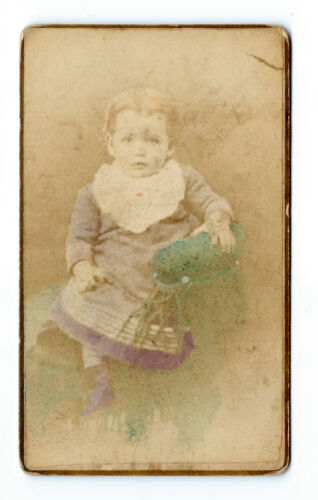 1882 cute little girl, hand colored, original cabinet photo, Fisherville, N.H.