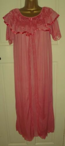 VINTAGE BEAUTIFUL HAND DYED CORAL 2 LAYER NYLON NIGHTDRESS PRETTY LACE SZ 10-12