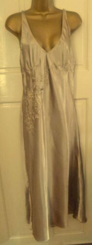 VINTAGE STYLE M&S BEAUTIFUL GOLD SLITHERY LIQUID SATIN NIGHTDRESS SIZE 12
