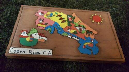 COSTA RICA, C.A. - WALL HANGING ART COUNTRY MAP WOOD WOODEN 8 x 4.5 x .5 inches!