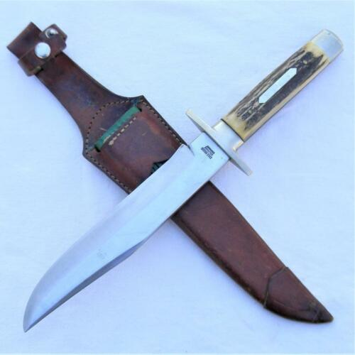 EDGE BRAND Solingen Germany 1950th large mod 068 stag Hunting Bowie, orig sheath