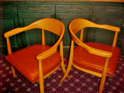 MID CENTURY MODERN BOLING CHAIR CO. DANISH OFFICE/LIBRARY CHAIRS SOLID WOOD PAIR