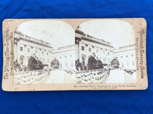 Antique 1899 StereoView Card The Whiting View Co Cincinnati OH GROVER CLEVELAND