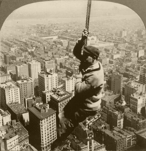 Keystone Stereoview Man Hanging on Cable 500 ft above New York 1910s NYC Set #27
