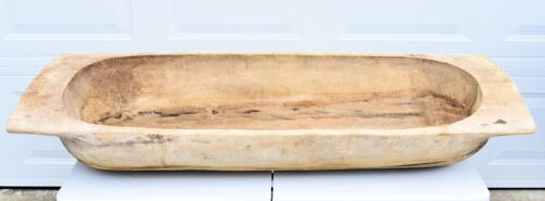 """Antique WOOD DOUGH BOWL / TRENCHER Hand Carved Late 1800's 56""""X20""""10"""" Primitive"""