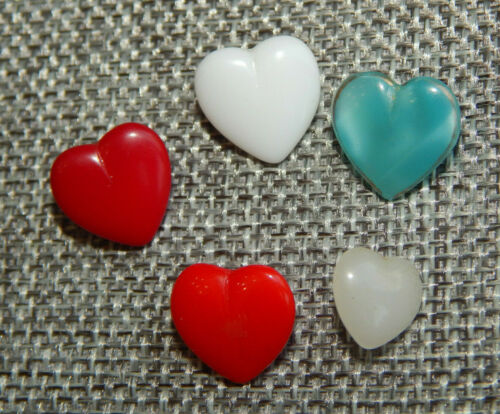 Lot of Antique Vtg Glass Buttons Hearts #1323-A