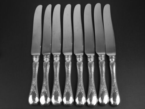 Set 8 x Dinner Knives Birks Regency Plate Queen Mary silverplate french blade