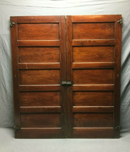 Antique Pair Country Cupboard Doors Cabinet Kitchen VTG Chic Old 22X50 473-21B