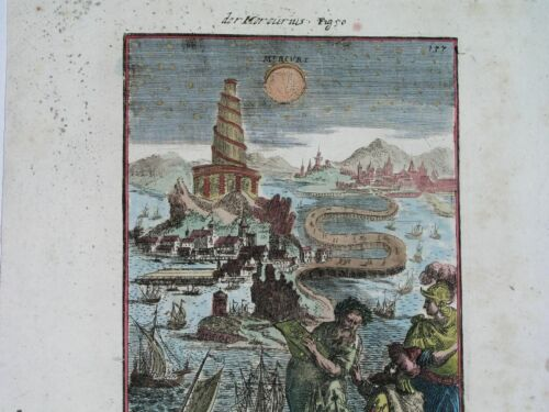 1719 RARE ORIGINAL ASTRONOMY COSMOGRAPHY MERCURY TOWER of BABEL edit. by JUNG