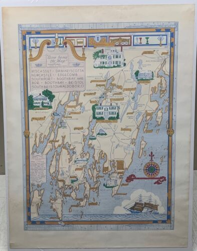 Rare 1966 Lincoln County MAINE Coast AD Phillips PICTORIAL MAP - Boothbay Harbor