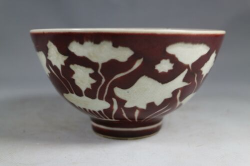 beautiful chinese red and white porcelain bowl