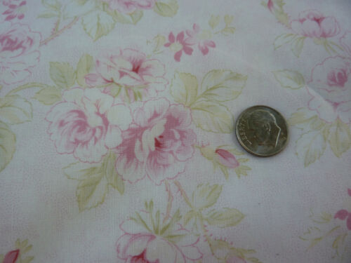 Mary Rose Quilt Gate Fabric Faded Pink Roses with Celery on Pink Cream MR1030R