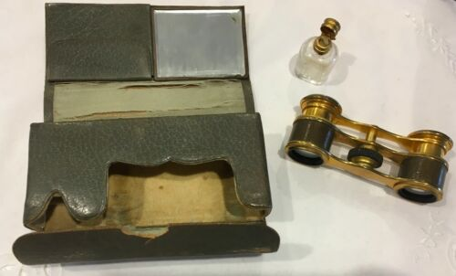 ANTIQUE  OPERA GLASSES IN ORIGINAL CASE WITH MIRROR AND PERFUME BOTTLE